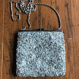 Cache Silver Beaded Evening Bag